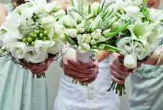 Bride and bridesmaid flowers - white with splashes of green and grey! Flowers by Vergeet - My - Nie www.vergeetmynieflorist.co.za