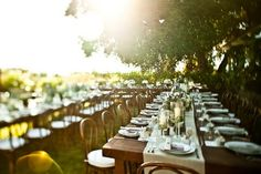 Family Style Dinner set-up Family Style Weddings, Real Weddings, Rustic Weddings, Country Weddings, Reception Seating, Reception Decorations, Wedding Seating, Wedding Decoration, Wedding Dinner