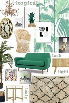 A Fresh and Leafy Living Room Scheme - jungle wallpaper, green sofa, rattan furniture, moroccan rug