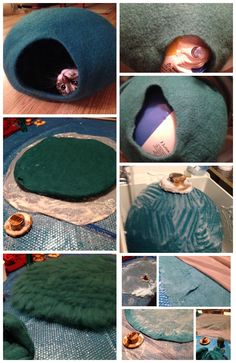 Making a felted Cat Cave, using a resist and Palm Washboard Felting Tools (avail. Cat Cave, Felt Cat, Felting Tutorials, Nuno Felting, Cat Furniture, Pet Beds, Diy Stuffed Animals, Felt Animals, Cat Toys