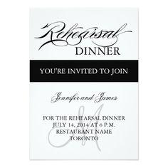 Black White Rehearsal Dinner Invitation
