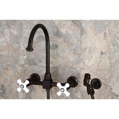 "Kingston Brass KS1295PXBS Restoration 8"" Wall Mount Gooseneck Kitchen Faucet with Brass Sprayer, Oil Rubbed Bronze - Price: $399.95 & FREE Shipping over $99     #kingstonbrass"