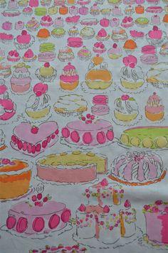 Lilly Pulitzer Fabric Let Them Eat Cake (cakes, birthday, desserts) LTEC on Etsy, $7.99