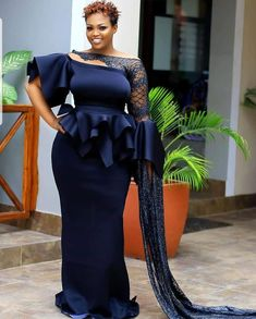 Image may contain: one or more people and people standing African Fashion Skirts, African Lace Dresses, African Wedding Attire, African Attire, Stylish Dresses, Stylish Outfits, Mature Women Fashion, Prom Dresses With Sleeves, Lace Outfit