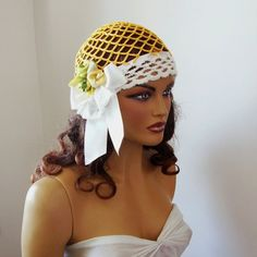 Hand Crochet  Dark Yellow And White Lace Hat Bride by Pasin, $42.00