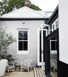 Exterior Paint Colors - You want a fresh new look for exterior of your home? Get inspired for your next exterior painting project with our color gallery. Exterior Color Schemes, Exterior Paint Colors, Exterior House Colors, Paint Colors For Home, Exterior Design, Grey Exterior, Colour Schemes, Black Trim Exterior House, Exterior Shutters