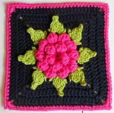 The Opulent Dahlia Square uses basic crochet stitches to get this cool crochet flower pattern. | AllFreeCrochetAfghanPatterns.com