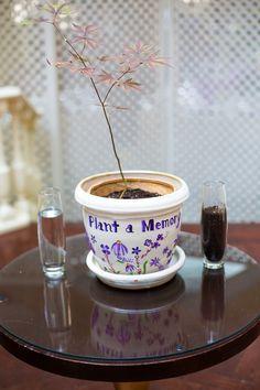 """plant a memory"" - planting a flower at their ceremony - Unity candle alternative Wedding Fun, Wedding Bells, Wedding Reception, Wedding Stuff, Wedding Gifts, Dream Wedding, Wedding Ideas, June 6th, September 2013"