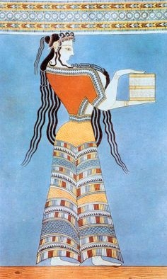 Mycenaean Woman (Fresco) Date ca. 1300 BC — This is a fairly large image of this Mycenean-era Minoan costume. Don't know where it came from/or photographer here - no photo credits. Drawing is more awkward/less naturalistic than earlier Minoan frescos. Greek History, Ancient History, Art History, European History, Ancient Aliens, American History, Ancient Greek Art, Ancient Greece, Egyptian Art