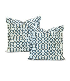 Buy Nairobi Denim Printed Cotton Cushion Cover (Pair) & Drapes - HalfPriceDrapes