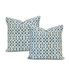 Buy Nairobi Denim Printed Cotton Cushion Cover (Pair) & Drapes - HalfPriceDrapes