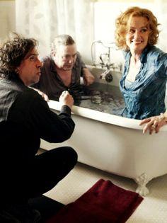 Tim Burton, Albert Finney and Jessica Lange on the set of Big Fish