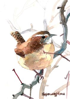 25 Foggy morning, Wren painting in watercolor, Art print, Cute bird art, Small gift idea for bird lovers is part of Carolina Wren Wren Bird Painting Wren Print Open - 25 Watercolor Bird, Watercolor Artists, Watercolor Animals, Watercolor Paintings, Watercolor Portraits, Watercolor Landscape, Abstract Paintings, Art Aquarelle, Nature Artists