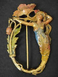 SUPERB FRENCH ART NOUVEAU GILT BRASS ENAMEL BELT BUCKLE LADY & FLOWER