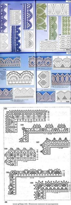 Many Free crochet edging diagram, chart patterns. by carlani #CrochetEdging