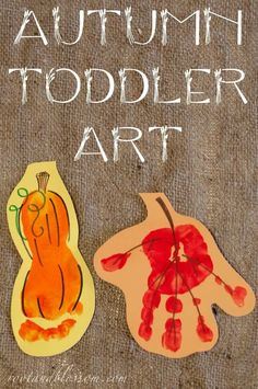 Rootandblossom: Autumn (Toddler Created) Banner - Handprint leaf and footprint squash