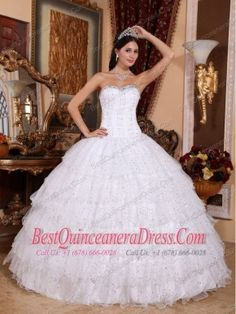 White Ball Gown Sweetheart Floor-length Taffeta and Tulle Beading Quinceanera Dress