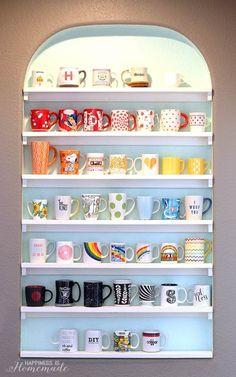 Coffee Mug Shelves | 23 Awesome Ways To Organize Your Coffee Mug Storage;