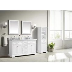Home Decorators Collection Windlowe 61 in. W x 22 in. D x 35 in. H Bath Vanity in White with Carrera Marble Vanity Top in White with White Sink - The Home Depot Double Sink Bathroom, Bathroom Vanity Tops, Bath Vanities, Bathroom Ideas, Master Bathrooms, Bathroom Cabinets, Bathroom Fixtures, Small Bathroom, Granite Vanity Tops
