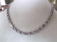 925 Sterling silver Oval Amethyst prongset linked choker necklace #Choker