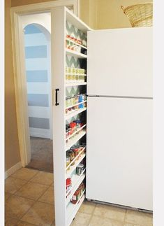ideas for small spaces kitchen, great way to utilize that space between fridge and wall.