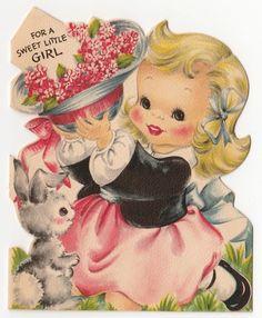 Vintage Greeting Card Easter Cute Little Girl Bunny Die-Cut Hallmark UNUSED a198