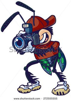 @shutterstock #Cartoon #stock #vector #clipart #illustration of #shutterbug  #mascot #character w/a #camera