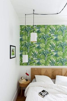 wallpaper feature half-wall & graphic wood headboard
