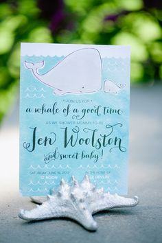 Whale Theme Baby Shower Invitations by Meghan Hopkins Sokorai via Oh So Beautiful Paper
