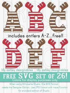 Make it Create.Free Cut Files and Printables: Free Christmas SVG Set of Antler Letters Christmas Vinyl, Christmas Projects, Christmas Alphabet, Christmas Shirts, Handmade Christmas, Xmas, Cricut Fonts, Cricut Explore Air, Vinyl Projects