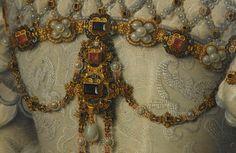 dowland:  François Clouet (c.1510-1572)  Portrait of Elisabeth of Austria, Queen of France (detail)