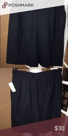 Dressy Black Wool Shorts Sz 6 Very nice pleated wool shorts. High waisted. Will look great with sons black tights and booties. Talbots Shorts Bermudas