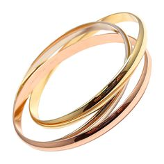 CARTIER Trinity Rolling Bangle in Tri-Color Gold
