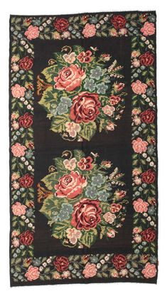 Rose kilims are produced in Moldavia and the northern parts of Turkey. Big Flowers, Kilims, Dark Backgrounds, Dark Red, Carpets, Hand Weaving, Oriental, Turkey, Colours