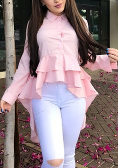 Sum All Chic, Shop Pink Single Breasted Cascading Ruffle Swallowtail High-low Office Worker/Daily Elegant Blouse online. Indian Fashion Dresses, Indian Designer Outfits, Girls Fashion Clothes, Teen Fashion Outfits, Girl Fashion, Stylish Dresses For Girls, Stylish Dress Designs, Stylish Outfits, Designer Party Wear Dresses