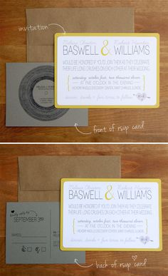 wedding invites. like! fonts are awesome. maybe a little grey chevron pattern on the RSVP.