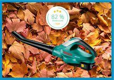 Der Herbst beginnt, die Blätter fallen, der Bosch Akku-Laubbläser ALB 18 bläst: