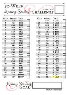 52 Week Money Saving Challenge Reverse Printable