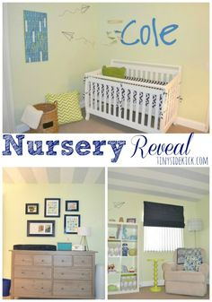 Modern Baby Boy Nursery Reveal {paper airplanes}