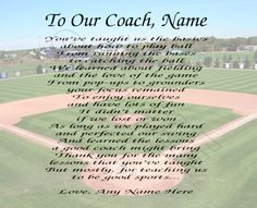 TO OUR BASEBALL COACH PERSONALIZED PRINT POEM END OF THE YEAR APPRECIATION GIFT