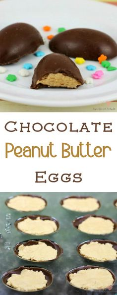 Chocolate Peanut Butter Eggs are the best Easter candy. You can easily make DIY chocolate eggs filled with peanut butter. -  Chocolate Peanut Butter Eggs Recipe from Sugar, Spice and Family Life