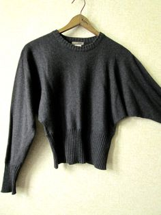 Charcoal Grey Sweater cotton pullover dolman batwing sleeves cropped high waist…