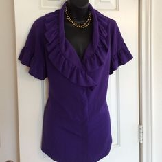 Simply Vera Royal Purple Size M PreLoved Size M- unique Ruffled Top, covered buttons  under front seams gives super smooth appearance That highlights the stunning Deep  V Ruffle neckline Machine Wash Fits true to size Nicely made Color is a very Rich Jewel Tone Purple - Try with a white suit AMAZING! Simply Vera Vera Wang Tops Blouses