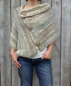 Buttoned Boho Poncho Crochet pattern by CamexiaDesigns Crochet Poncho Patterns, Christmas Knitting Patterns, Knitted Poncho, Crochet Shawl, Knit Crochet, Crochet Edgings, Loom Patterns, Crochet Motif, Crochet Hook Sizes