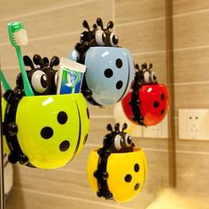 1PC Ladybug toothbrush holder Toiletries Toothpaste Holder Bathroom Sets Suction Hooks Tooth Brush Container Ladybird Hot Sale #Affiliate