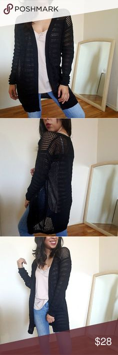 ❗LAST TWO❗BLACK PERFORATED CARDIGAN Love this cardi. Long mid thigh length. Drop shoulders. Perforated. Lightweight and perfect for upcoming summer nights weather! I personally love it with my black lace trim bodysuit! Fits TTS.   ☞Sizes available: S M l  ☞MODELING SIZE M/L 🍃I.G: @JMAYORGA91   ❌PRICE FIRM❌ Sweaters Cardigans