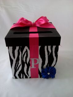 One tier Monogram BLING Zebra Print Wedding by FabulousWeddings, $50.00