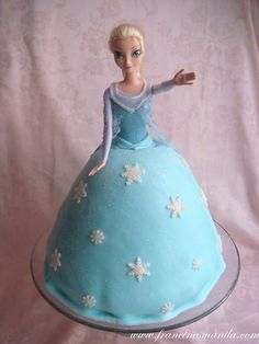Elsa Cake Cute Snowflakes On The Dress