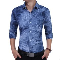 2017 Men's Wedding Shirt Long Sleeve Men Dress Shirt Business printed Casual Shirts Work Wear Formal Slim Shirt Man #Affiliate