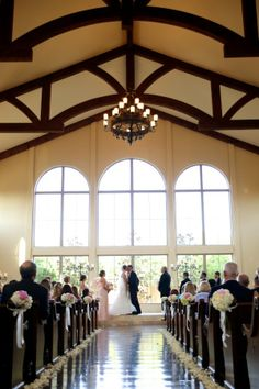 We love the open windows and exposed wood beams at Chapel at Ana Villa in The Colony, Texas - Dallas Wedding Venue. #chapel #weddingvenue #dfw #frisco #plano #waltersweddingestates